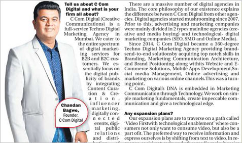 Chandan Bagwe Founder C Com Digital Says Communicate Creatively